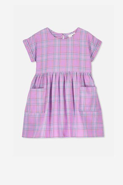 Malia Short Sleeve Dress, SWEET LILAC CHECK