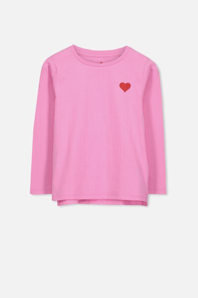 Penelope Long Sleeve Tee, FUSCHIA PINK/CHEST HEART/SET IN