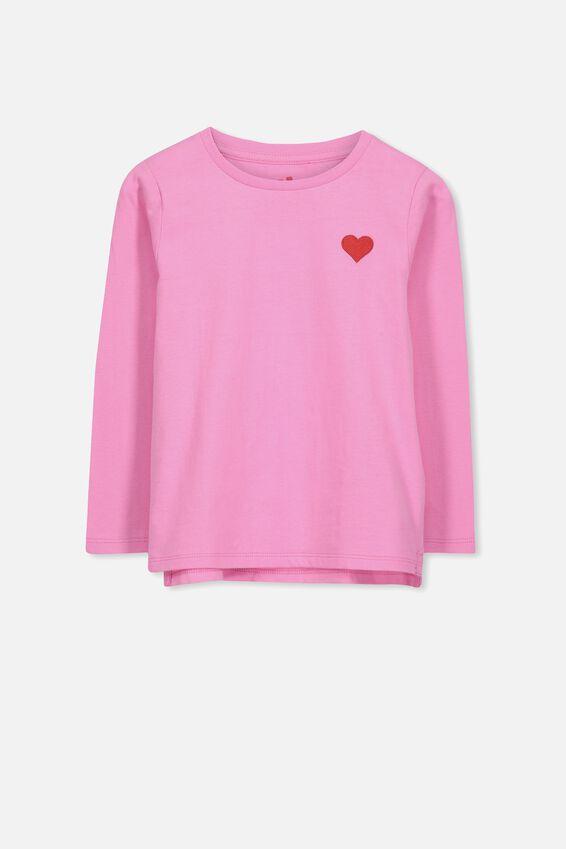 Penelope Long Sleeve Tee, FUSCHIA PINK/CHEST HEART/SET IN
