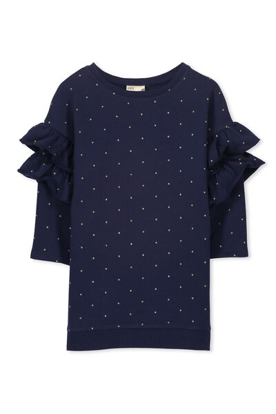 Andrea Frill Sleeve Dress, PEACOAT/GOLD DOT