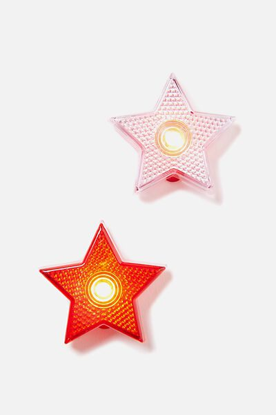 Clip On Lights, RED/ WHITE STAR