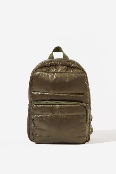Puffer Backpack, KHAKI