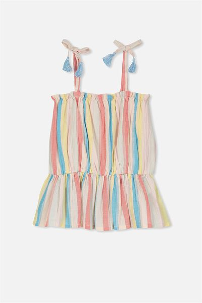 Penny Peplum Top, RAINBOW/METALLIC STRIPE