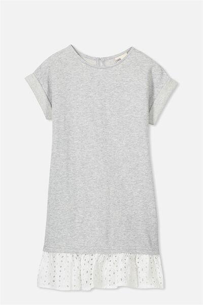 Sallianne Short Sleeve Dress, LT GREY MARLE/VANILLA
