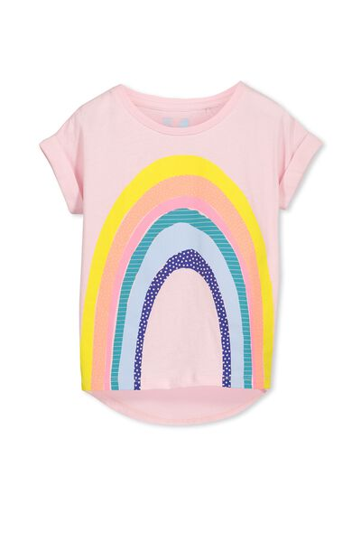Penelope Short Sleeve Roll Up Tee, PASTEL PINK/TEXTURED RAINBOW