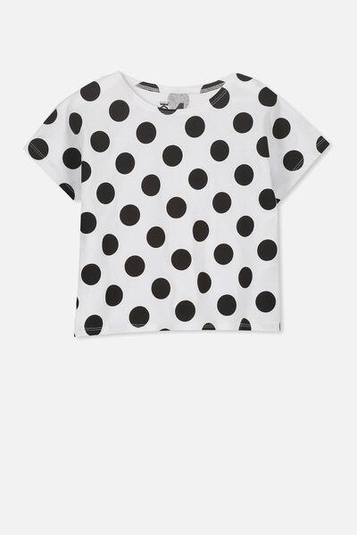 Penelope Short Sleeve Tee, WHITE/BLACK SPOT/BOXY