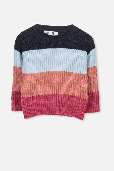 Shelly Knit Jumper, PINK/BLOCK STRIPE