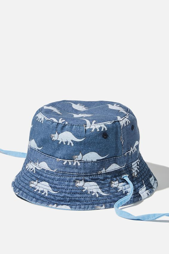 Reversible Bucket Hat, DUSK BLUE DINO