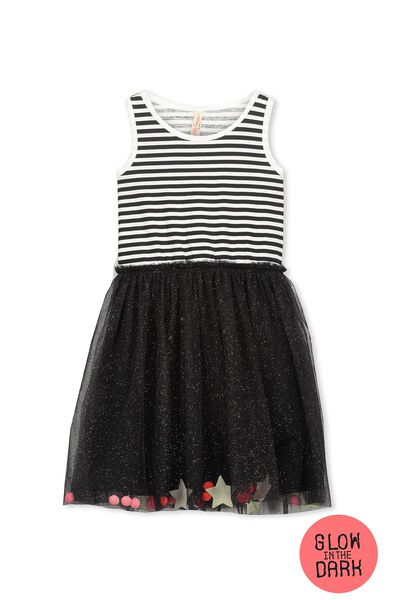 Iris Tulle Dress, BLACK STRIPE/RAINBOW SPARKLE