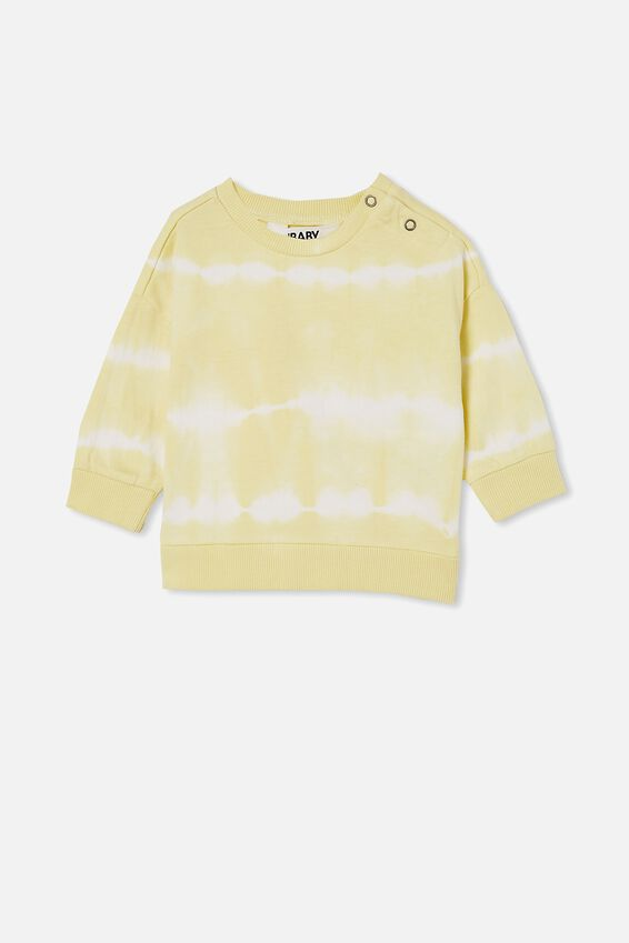 Enzo Drop Shoulder Top, LEMON DROP LINEAR TIE DYE