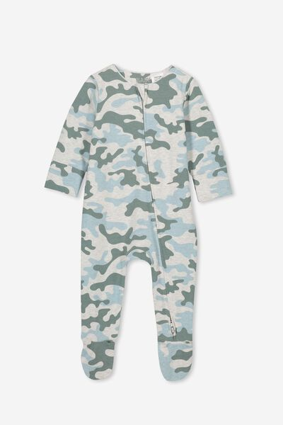The Long Sleeve Zip Romper, SOFT GREY MARLE/STORMY SEA CAMO