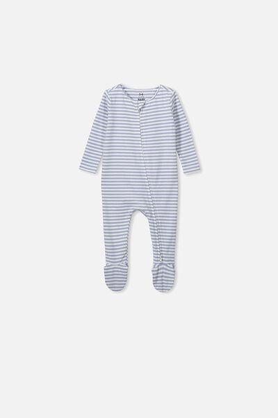 The Snug Long Sleeve Zip Romper, CHRIS STRIPE DUSTY BLUE/WHITE