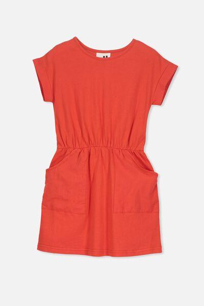 Sibella Short Sleeve Dress, ENGINE RED