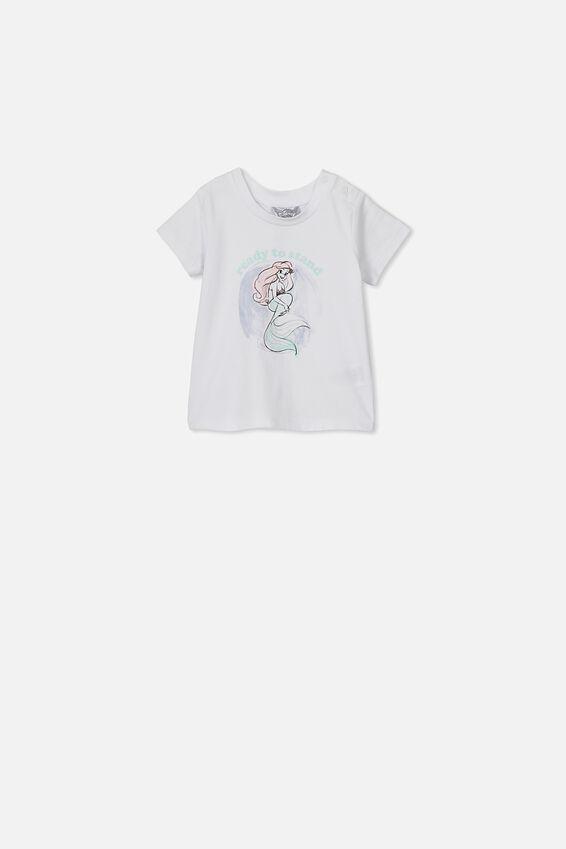 The Little Mermaid Short Sleeve Baby Tee, LCN DIS WHITE ARIEL