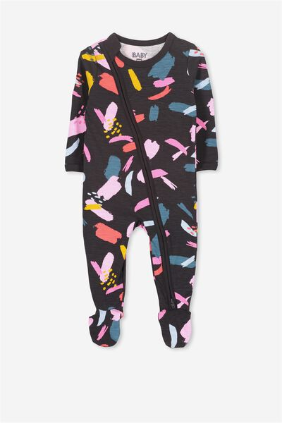 Sleep Mini Zip All In One Jumpsuit, PHANTOM/ABSTRACT PAINTERLY