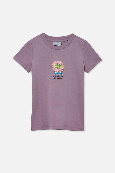 Short Sleeve License Embellished  Tee, LCN DIS DUSK PURPLE / I AM SWEET ENOUGH