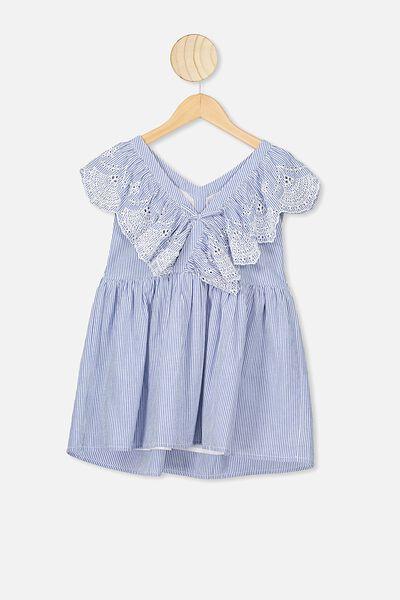 Claire Sleeveless Dress, BLUE/WHITE STRIPE