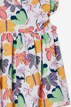 Megan Sleeveless Ruffle Dress, VANILLA/PAPAYA BEATRICE BUTTERFLY