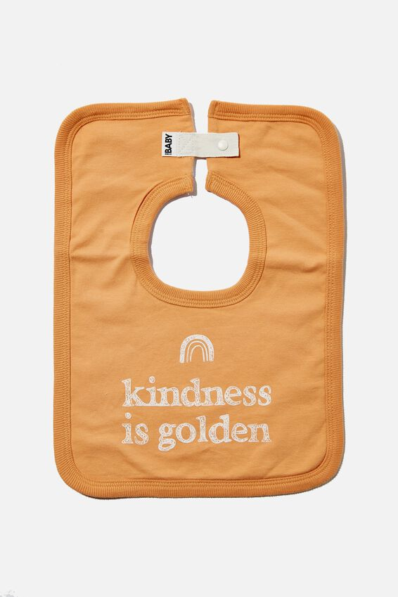 The Square Bib, APRICOT SUN/KINDNESS IS GOLDEN
