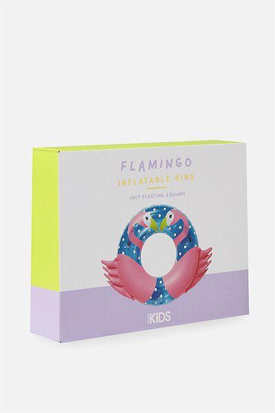 Inflatable Kids Swim Ring, PINK FLAMINGO