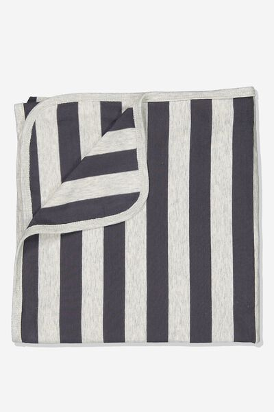 The Baby Blanket, CLOUD MARLE/GRAPHITE GREY STRIPE