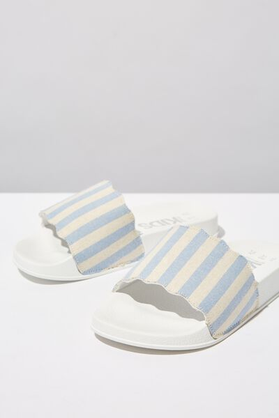 Scallop Slide, CHAMBRAY WHITE STRIPE