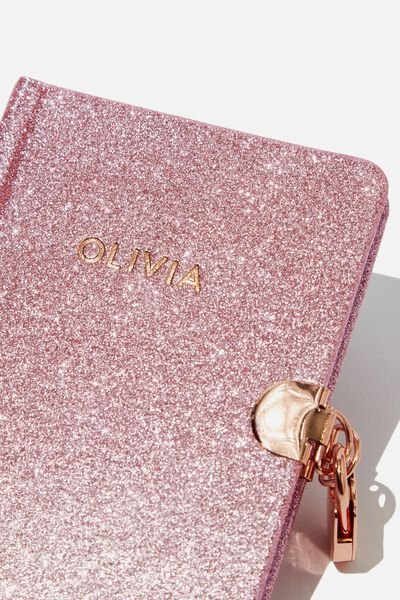 Sunny Buddy A6 Secret Notebook Personalised, PINK GLITTER