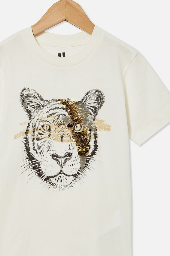 Downtown Short Sleeve Tee, RETRO WHITE/SEQUIN TIGER