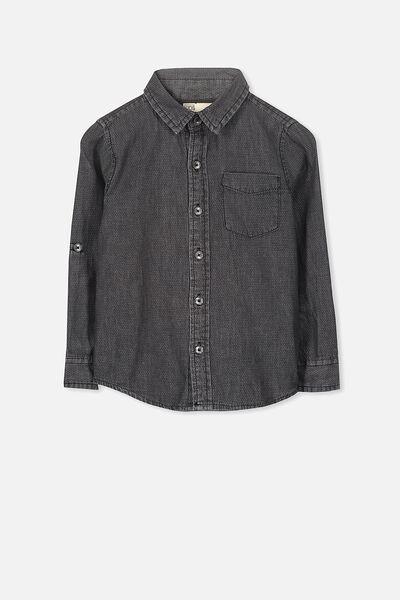 Noah Long Sleeve Shirt, PHANTOM TEXTURED DENIM
