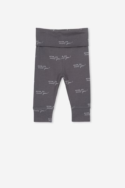 Newborn Essentials Legging, GRAPHITE GREY/NICE TO MEET YOU