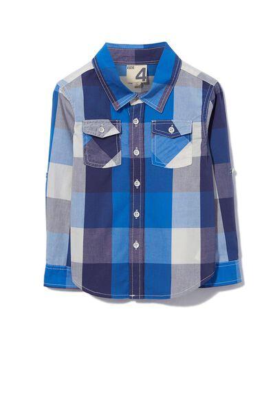 Noah Long Sleeve Shirt, BLUE/VANILLA MULTI CHECK