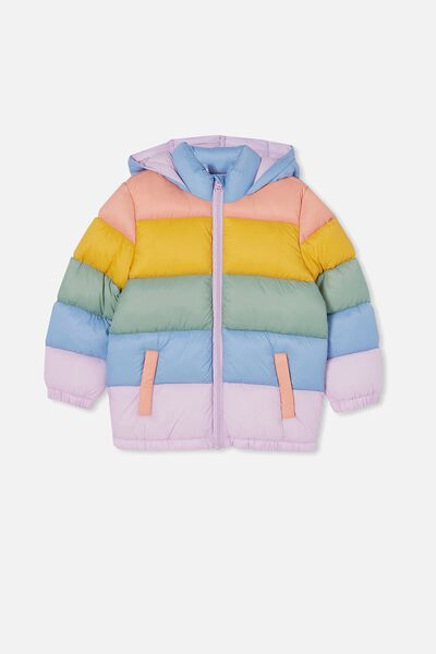Frankie Puffer Jacket, RAINBOW SPLICE
