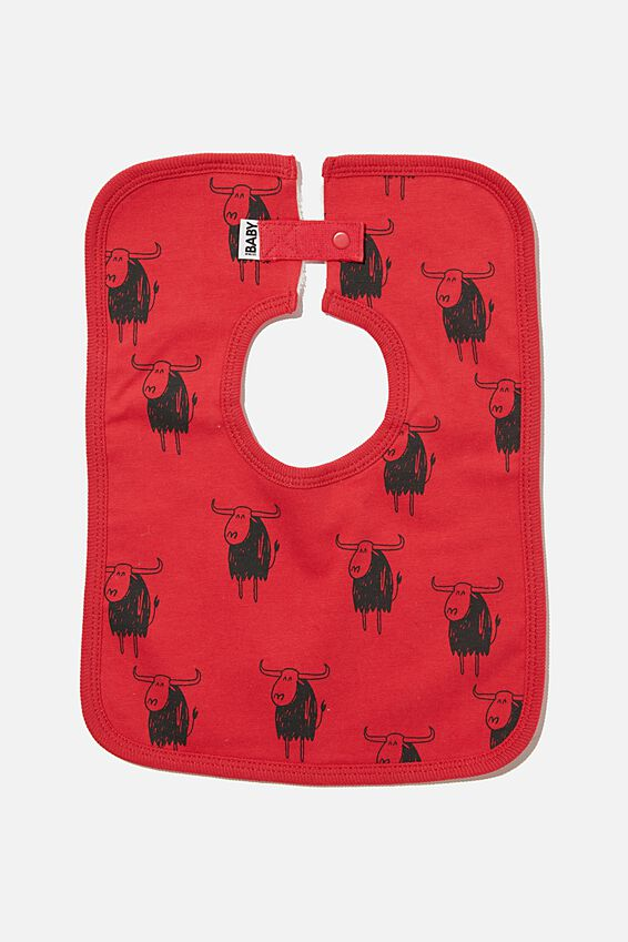 The Darcey Square Bib, LUCKY RED/LUCKY OX