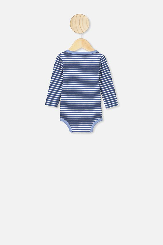 The Long Sleeve Placket Bubbysuit, ASH STRIPE PETTY BLUE/POWDER PUFF BLUE BIND