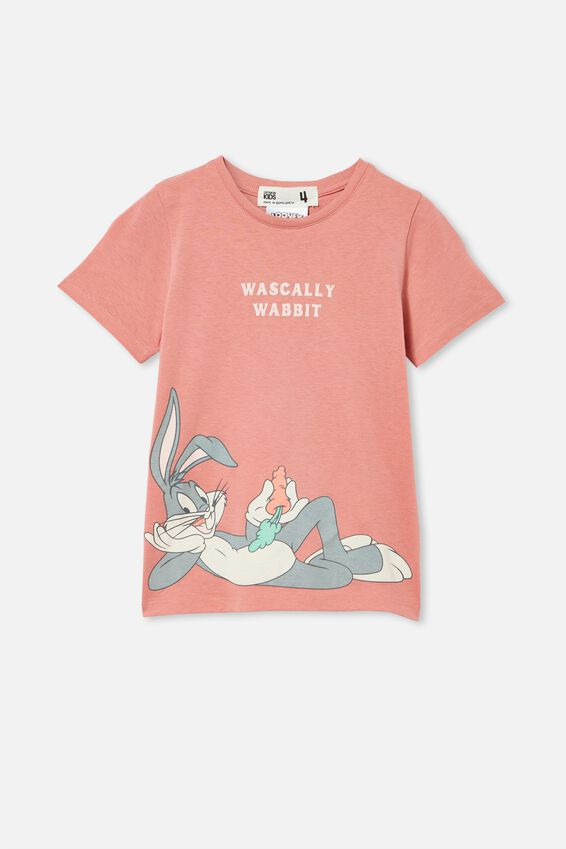 License Short Sleeve Tee, LCN WB BUGS WASCALLY WABBIT/EARTH CLAY