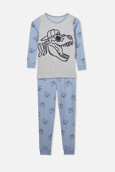 Ethan Long Sleeve Boys Pyjama Set, COOL DINO