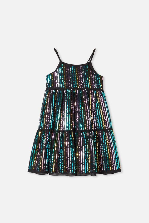 Bianca Dress Up Dress, BLACK/RAINBOW SPARKLE