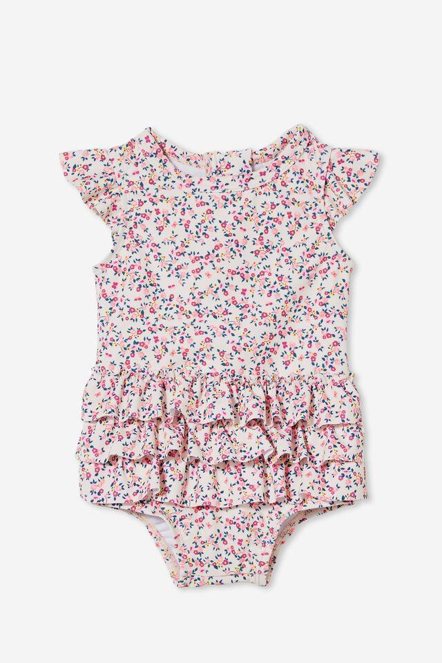 Charlene Ruffle Swimsuit, CRYSTAL PINK/POPCORN SOMERSET FLORAL