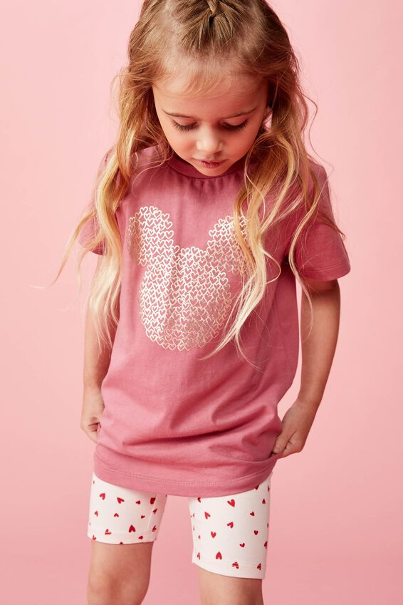 Lux Short Sleeve Tee, LCN DIS VERY BERRY/GOLD MICKEY HEARTS