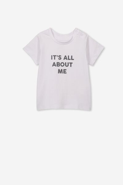 Jamie Short Sleeve Tee, WHITE/ITS ALL ABOUT ME