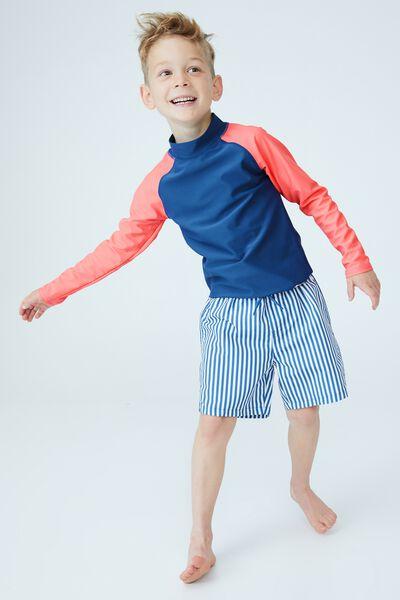 Flynn Long Sleeve Raglan Rash Vest, PETTY BLUE/RETRO CORAL