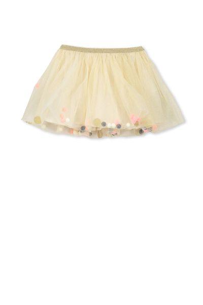 Trixiebelle Tulle Skirt, MILK/GOLD/BELLS