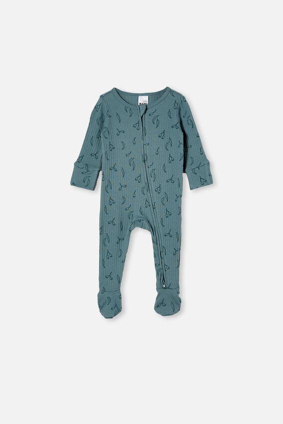 Organic Newborn Zip Through Romper, DEEP POOL BLUE/GUMNUTS