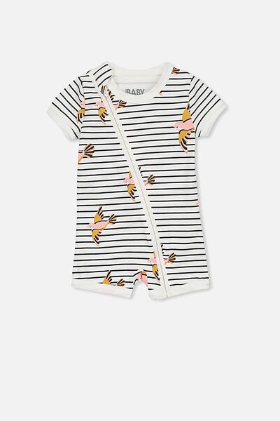 Mini Short Sleeve Zip Through All In One, VANILLA/BIRDS ON STRIPE