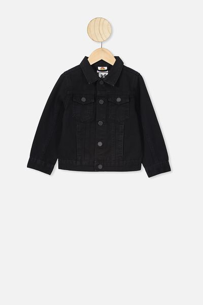 License Denim Jacket, LCN WB BLACK WSH/SPACE JAM