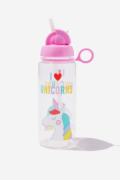 Spring Drink Bottle, MULTI I LOVE UNICORNS