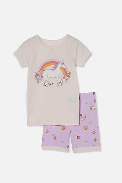Nikki Short Sleeve Pyjama Set, ROLLER UNICORN PALE VIOLET