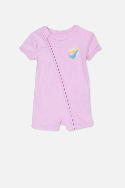 Mini Ss Zip Through Romper, LILAC SY MARLE/MALIBU