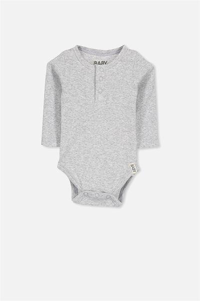 Mini Ls Henley Bubbysuit, CLOUD MARLE