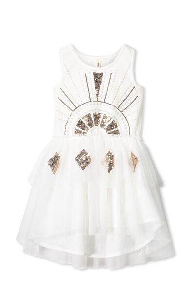 Iris Tulle Dress, VANILLA/WINDCHIME/SCALLOP GOLD